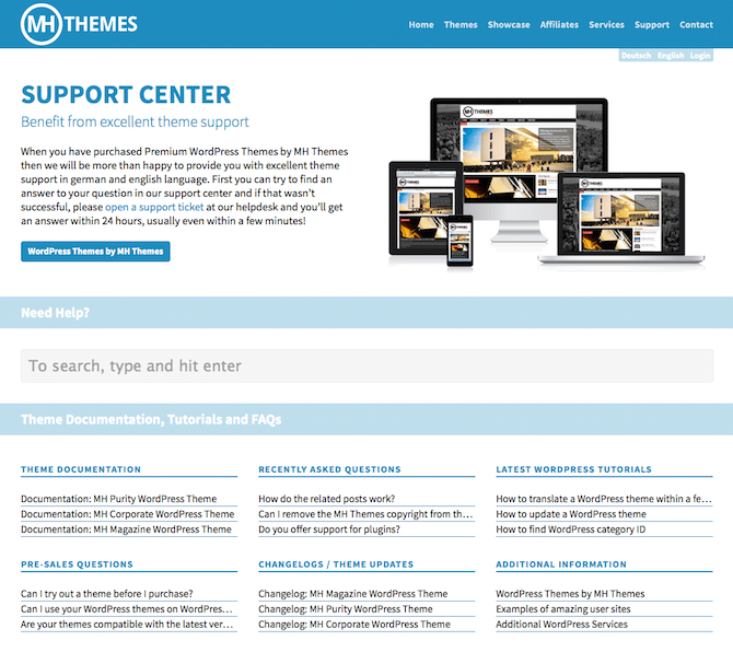 MH Themes Support Center