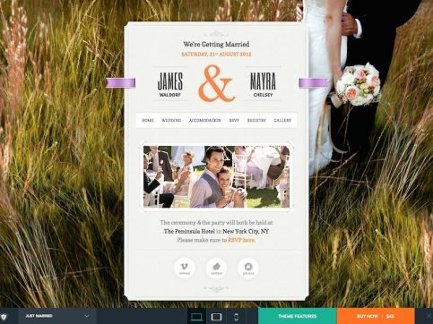 Just Married Blog WordPress Theme