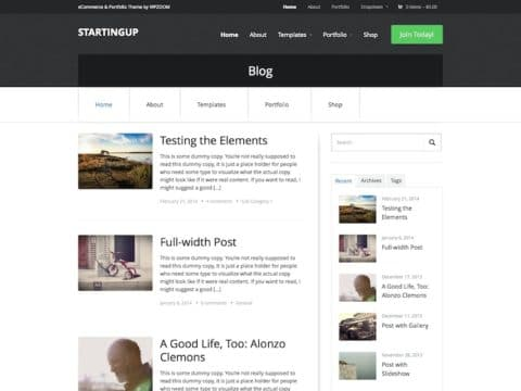 StartingUp WordPress Theme