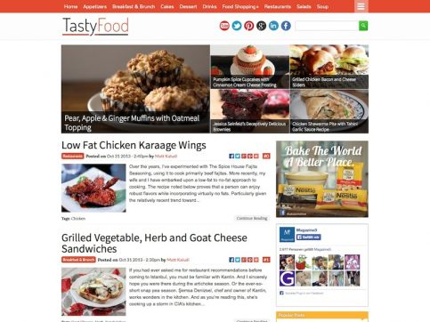 TastyFood Blogging WordPress Theme