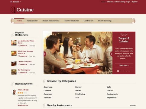 Cuisine Directory WordPress Theme