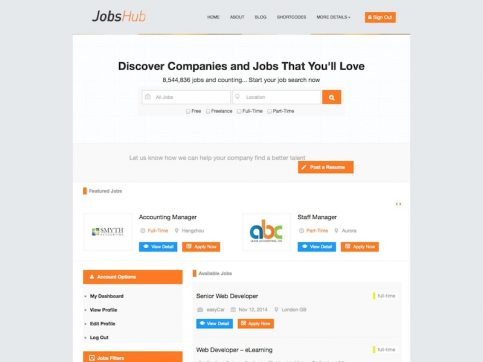 JobsHub Job Board WordPress Theme