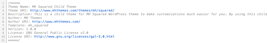 Header of style css