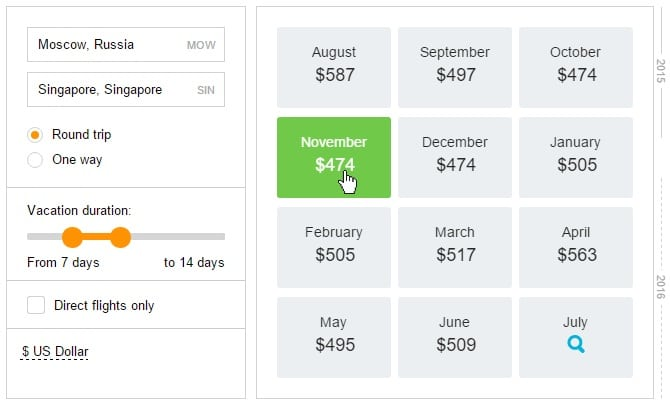 Travelpayouts Calendar