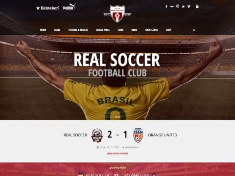 Real Soccer Sports WordPress Theme