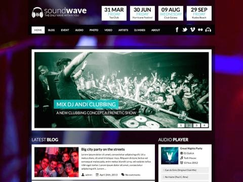 SoundWave Music WordPress Theme