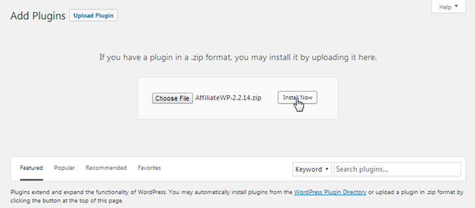 Install AffiliateWP