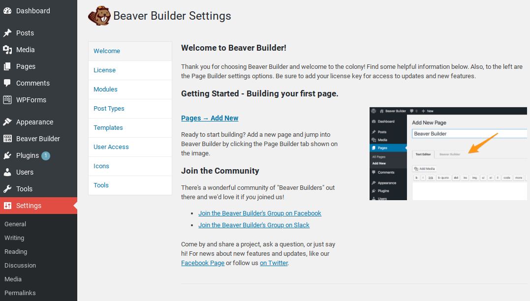 Beaver Builder Settings