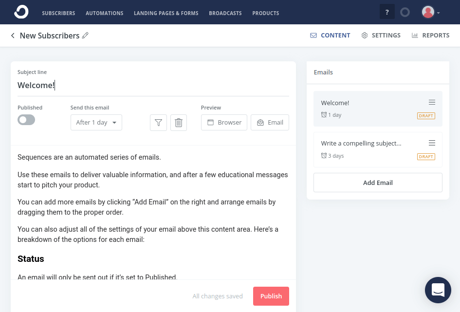 ConvertKit Email Sequences